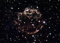 Vista Hubble da supernova Cassiopeia A explosão