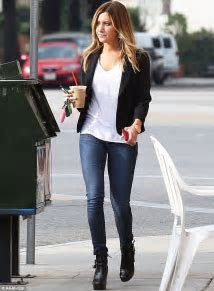 Ashley Tisdale shows off her long, lean legs in skintight