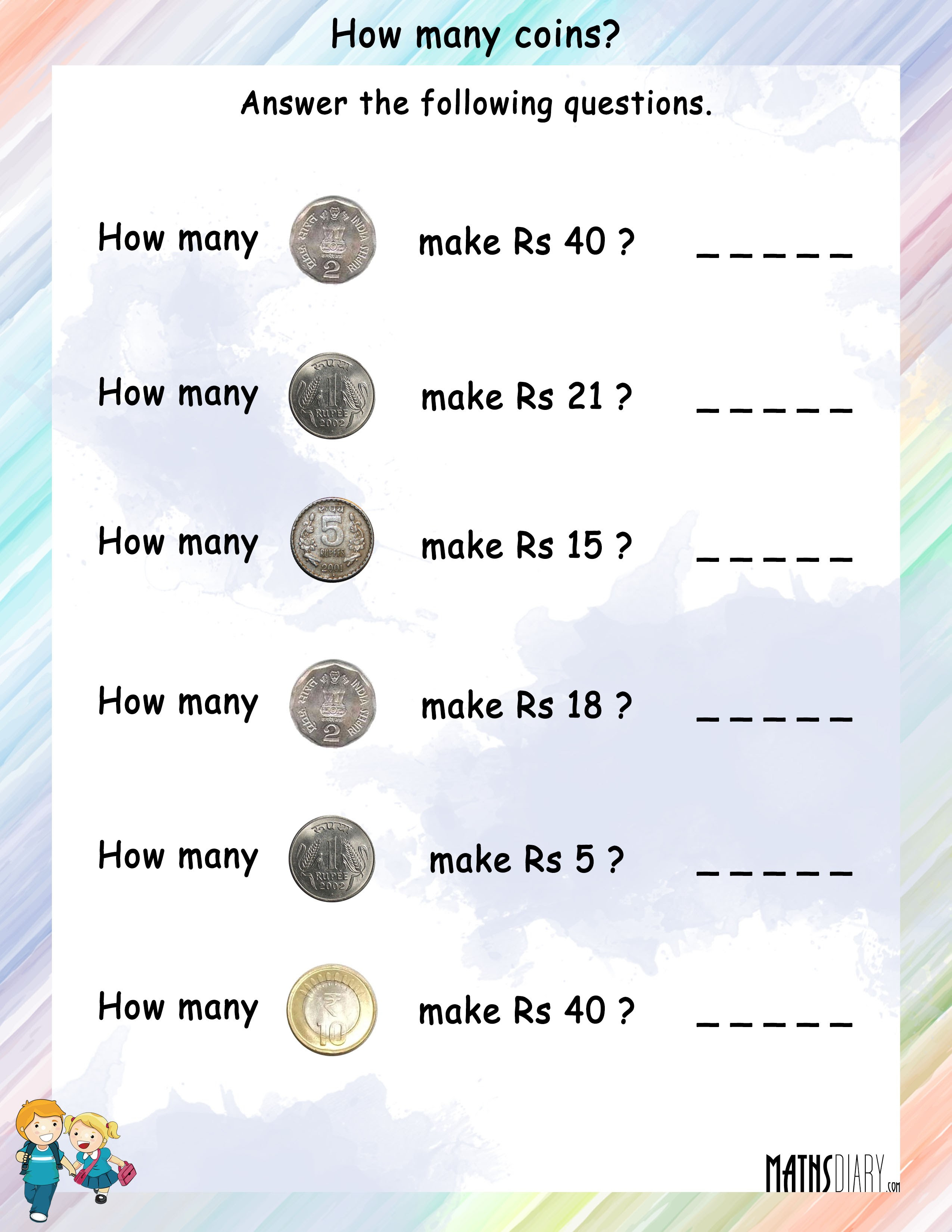How many coins worksheet 10