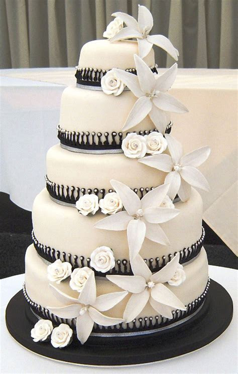 Black White Wedding Cake Designs Wedding Cake   Cake Ideas