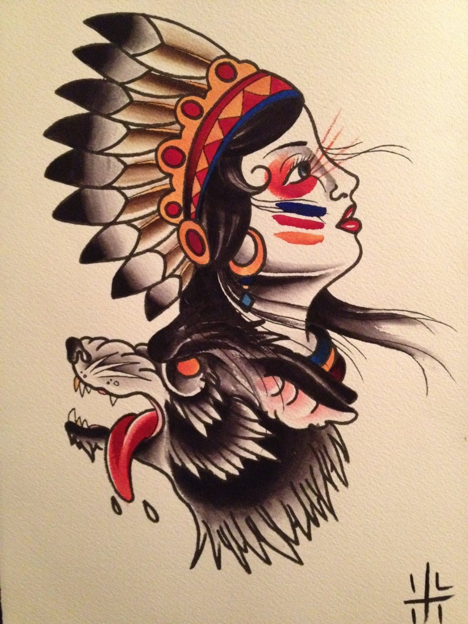 Native Girl Head And Wolf Head Tattoo Design