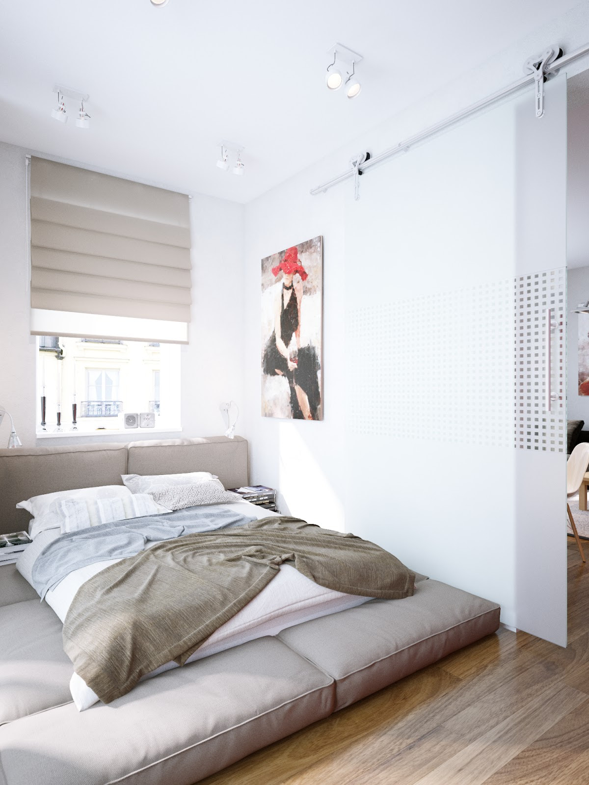 bedroom design with bed on the floor