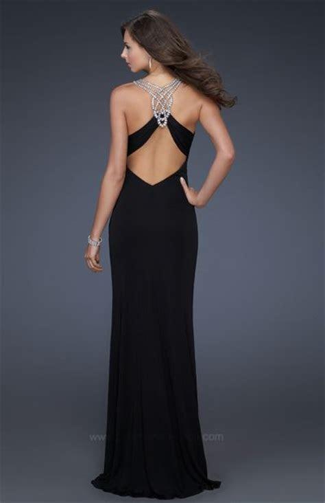 La Femme Black Jersey Long Evening Dress with Rhinestones