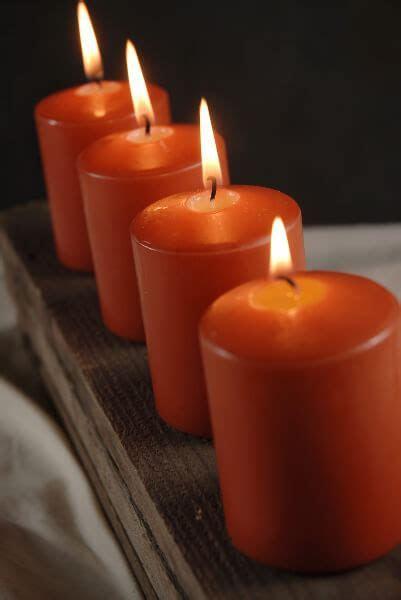 4 Large Votive / 3in Pillar Candles Bright Orange