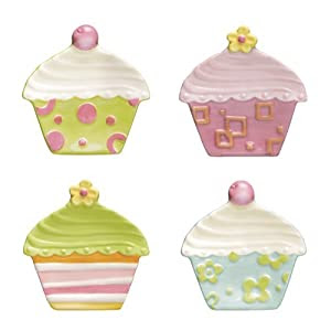Grasslands Road Sweet Soiree 4-Inch by 4-1/4-Inch Cupcake Shaped Tidbit Plates 4 Styles, Set of 4 Gift Boxed