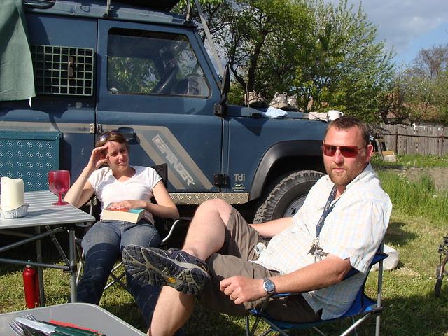 Ollie & Jenny relaxing in garden