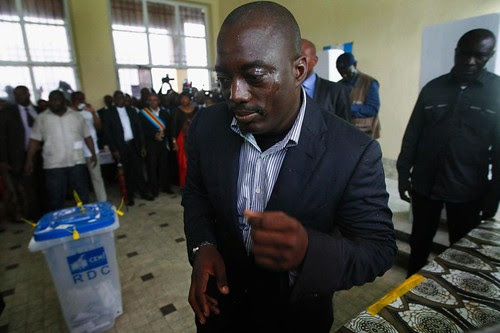 Democratic Republic of Congo President Joseph Kabila casts his vote in the national elections. The DRC is a mineral-rich state in Central Africa. by Pan-African News Wire File Photos