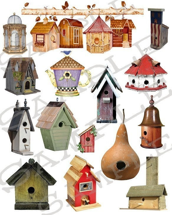 Bird Houses Collage Sheet 1bh