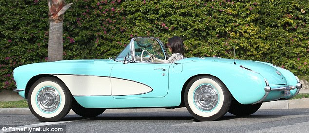 Sweet ride: Kendall's car included stylish whitewall tires