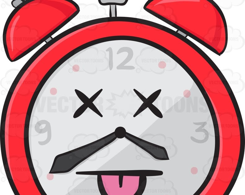 Vector Toons: Knocked Out Alarm Clock Emoji
