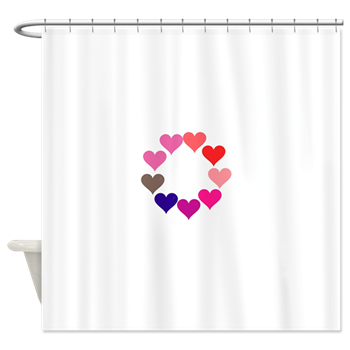 Circle of Rainbow Hearts Shower Curtain