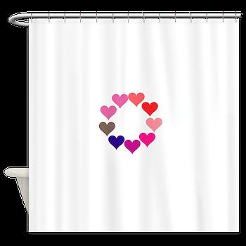 Circle of Rainbow Hearts Shower Curtain