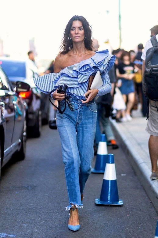 Le Fashion Blog Best Statement Tops Shopbop Sale Ruffles Flare Sleeves Off The Shoulder Gingham Wrap Shirts One Shoulder Street Style Jeans Pumps