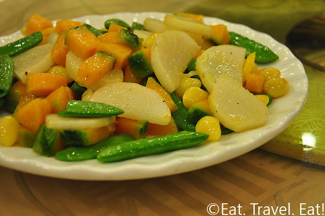 Kabocha Squash with Mountain Yam, Gingko Nuts, and Sugar Snap Peas