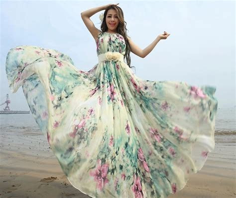 Summer Floral Long Beach Maxi Dress Lightweight Sundress