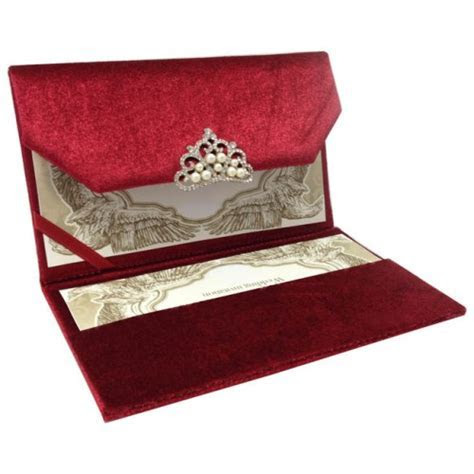 RED COUTURE VELVET INVITATION WITH LUXURY PEARL   CRYSTAL