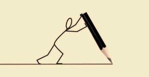 homem empurra lápis pb