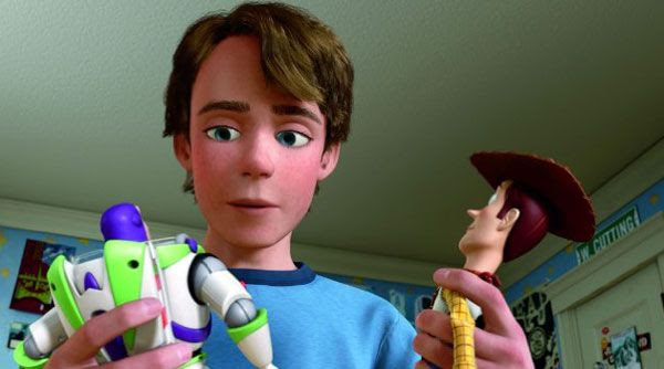 Andy decides which of his two favorite childhood toys he'll take with him to college in TOY STORY 3.