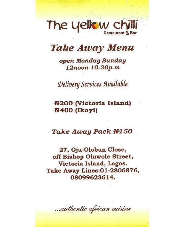 Yellow Chilli Bar & Restaurant - LGTNigeria