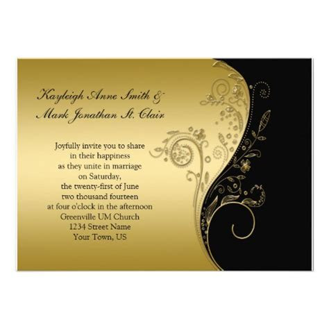 8,000  Black And Gold Wedding Invitations, Black And Gold