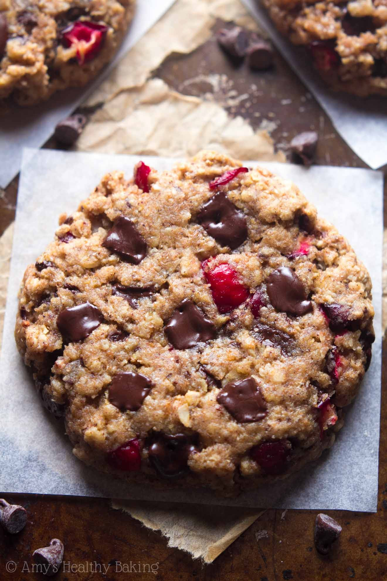 Dark Chocolate Cranberry Oatmeal Cookies   Amy's Healthy ...