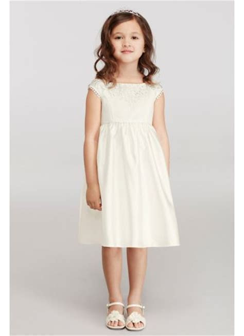 Cap Sleeve Flower Girl Dress with Lace Appliques   David's