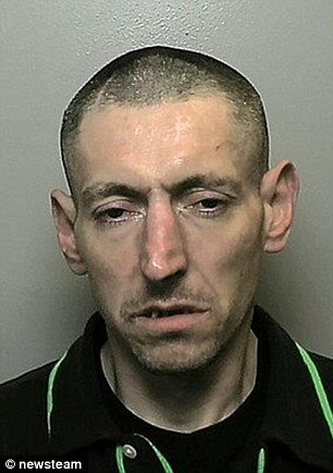 Scott Tinsley, who has been jailed for 40 months after he was discovered sleeping on a sofa inside the home of a family he was trying to steal from