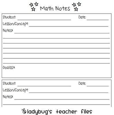Math Conference Notes - Ladybug's Teacher Files