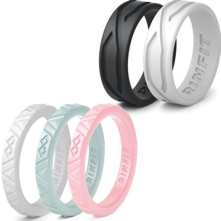 Rinfit   women's silicone wedding ring  5 Rings Pack  Mix