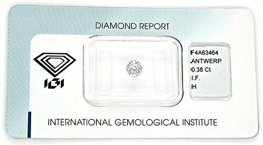 Foto 1, Diamant IGI! 0,38ct Lupenrein Wesselton-Weiss VG Juwel!, D5507