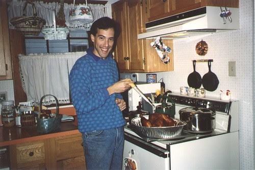 Steve Basting a Thanksgiving Turkey