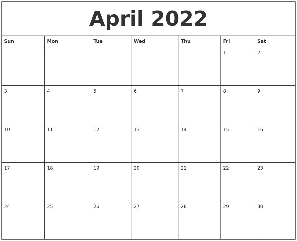 april 2022 printable blank monthly calendar