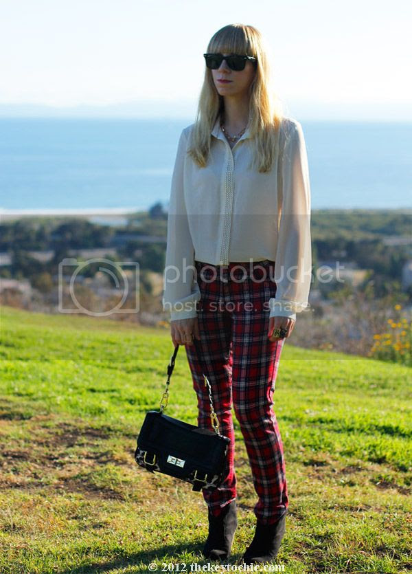 Jovonnista studded blouse, H&M plaid jeans, Mossimo Kacey ankle boots, Los Angeles fashion blog, southern California style