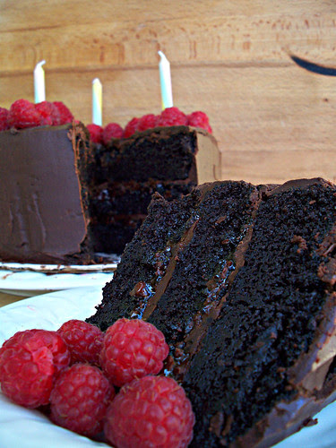 Chocolate Raspberry Ganache Cake....this recipe from Market 71 sounds delicious!  |  Friday Favorites at www.andersonandgrant.com