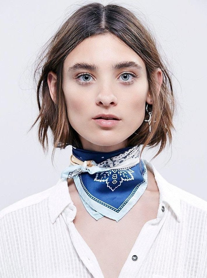 Le Fashion Blog Beauty Style 2016 Trends Silk Tied Neck Scarf Bold Brows Gold Eyeshadow Luv AJ Cross Hoop Earrings Ribbed Henley Shirt Hair Celine Inspired Tuck Via Free People