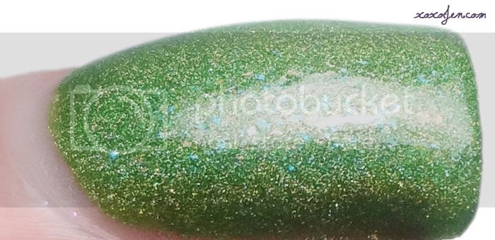 xoxoJen's swatch of Literary Lacquers Grasshopper with Cotton Candy Hair