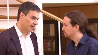 El líder del PSOE, Pedro Sánchez, i el líder de Podem, Pablo Iglesias
