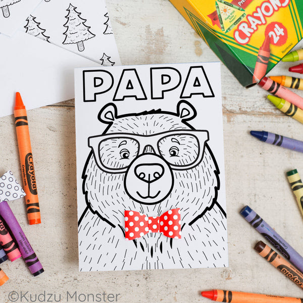 Papa Bear Father's Day Coloring Greeting Card Activity ...
