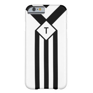 Black Stripes and Chevrons with Monogram on White Barely There iPhone 6 Case