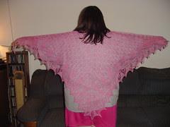 swallowtail shawl blocked and full size