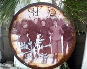 Ladies and Gents Ski Group Circa 1900 - Rusty Tin Ornament