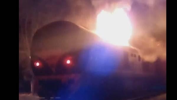 La locomotora del San Martín que se incendio esta mañana en Bella Vista. (AntonioCABJ12)