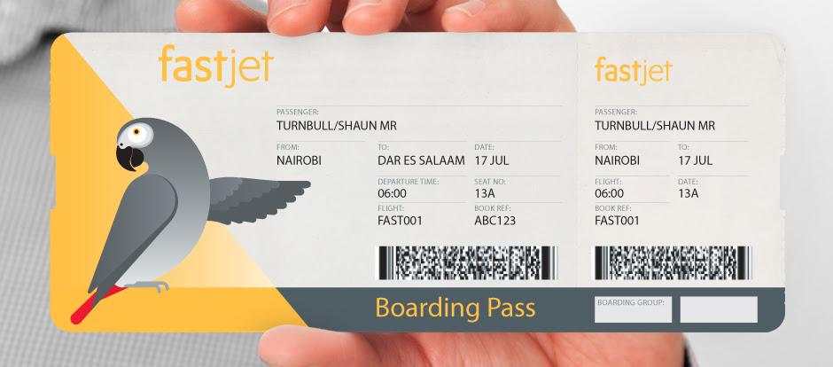 A fastjet boarding pass