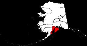 Map of Alaska highlighting Kenai Peninsula Borough