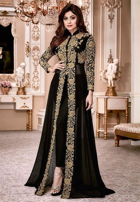 Embroidered Georgette Abaya Style Suit in Black : KCH941