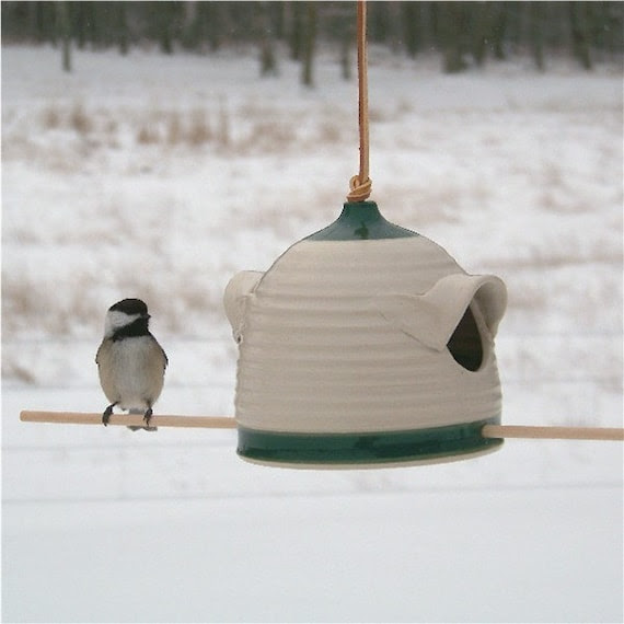 Bird Feeder in Forest Green and Cream (sunflower seed feeder for chickadees, finches etc.)