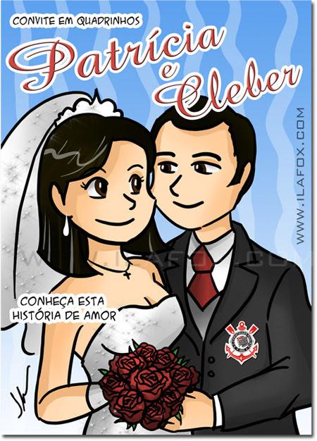 convite em história em quadrinhos personalizados para casamento, capa convite, noivos, mangá by ila fox