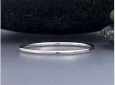 Thin Platinum Wedding Band 1mm Round Stacking Ring