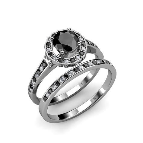 Black & White Diamond Bridal Set Ring & Wedding Band 1.90