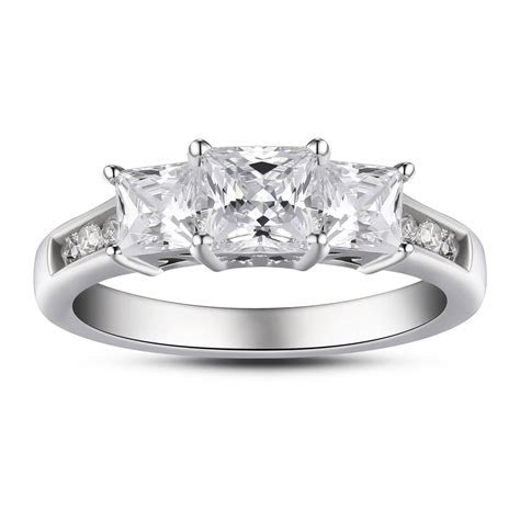 Princess Cut Three Stone 925 Sterling Silver White